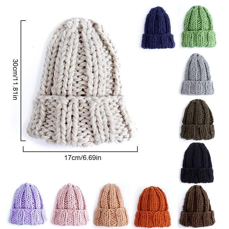 Fashion Men Winter Hat Adult Knitted Thicken Beanie Cap Outdoor Ski Crochet Hat