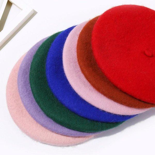 Wool Beret Hats Women Winter French Hat Girls Solid Color Fashion  Autumn Winter Beret Hat For Women Flat Cap Hat Felt Berets 8