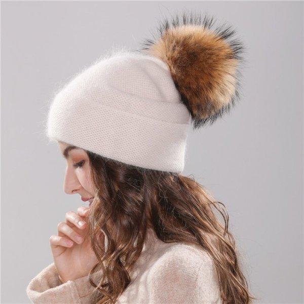 Xthree new women's hat winter beanie knitted hat Angola Rabbit fur Bonnet girl 's hat fall female cap with fur pom pom 4