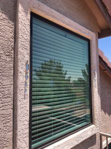bronze exterior picture window