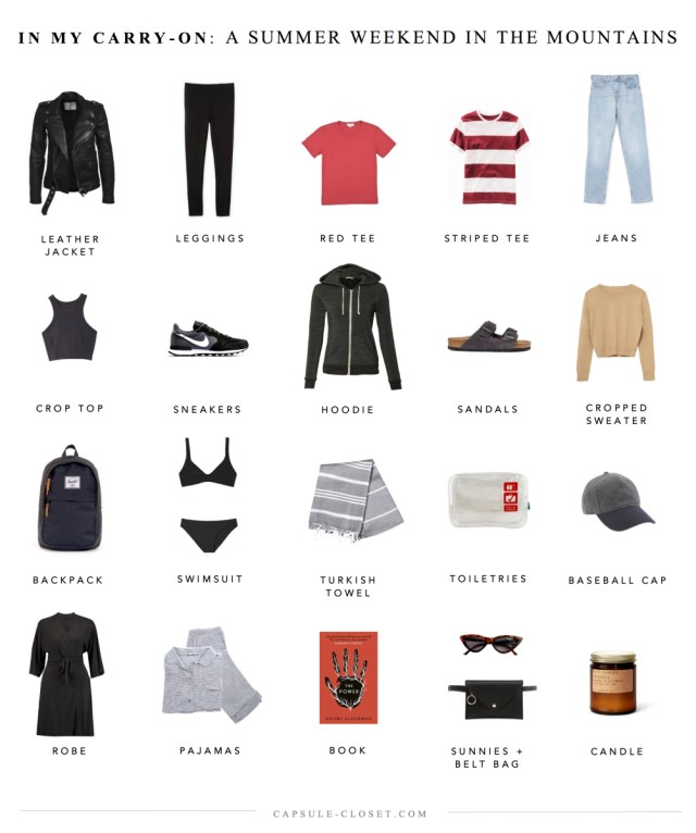 Packing List A Summer Weekend In The Mountains Capsule Closet
