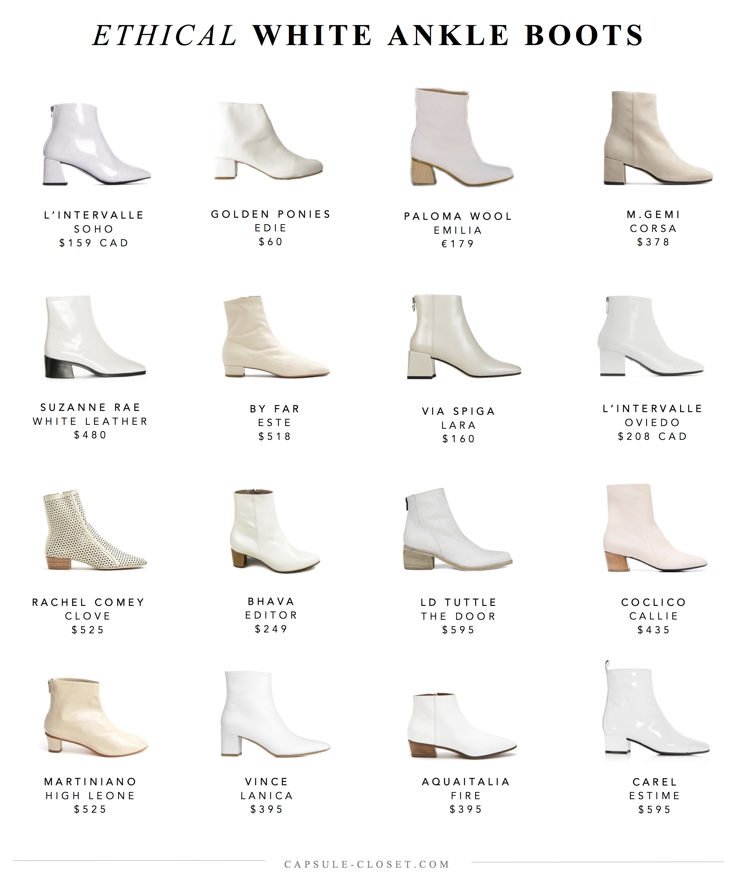 Where to Shop Ethical White Ankle Boots