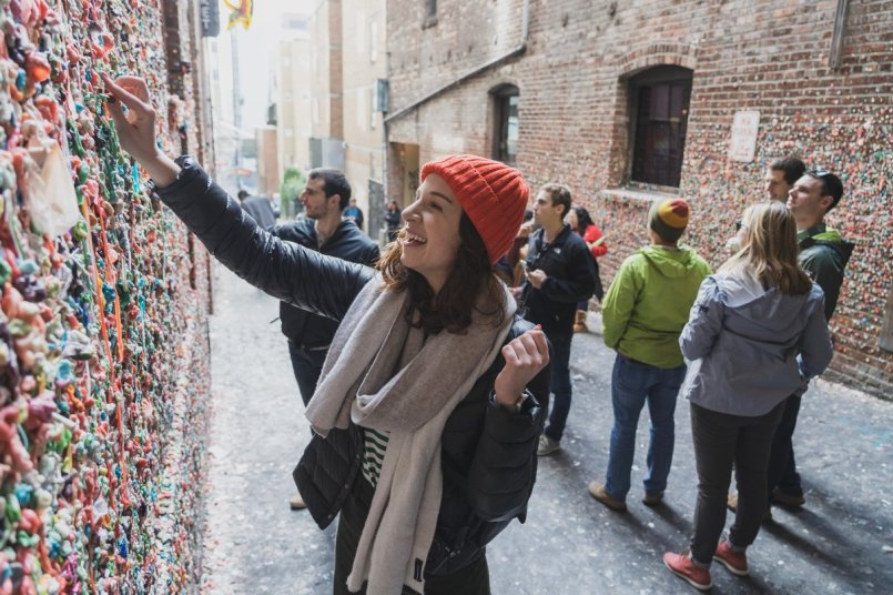 gum wall in Seattle Capsule Suitcase