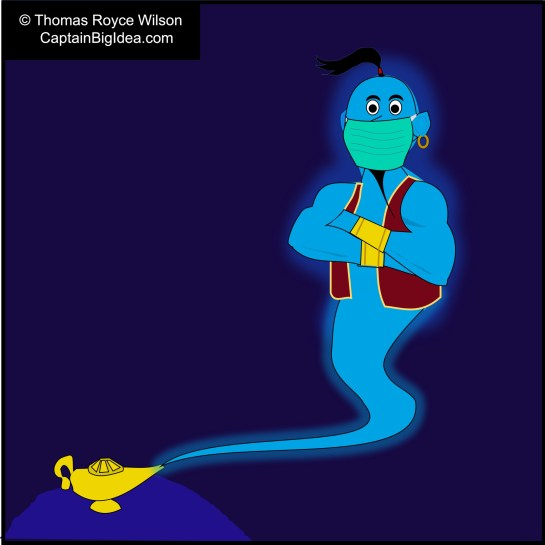 Cartoon: Genie emerges from magic lamp wearing a COVID mask.