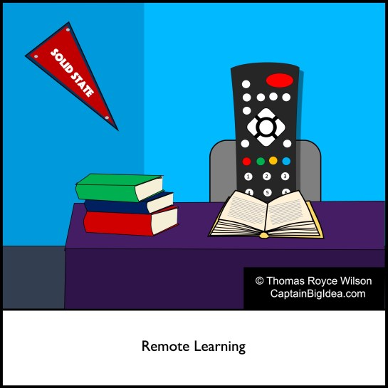 "Cartoon that has a remote control at studying at a desk to indicate ""remote learning."""