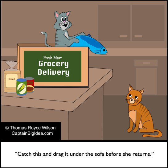 Cartoon about cats and home grocery delivery.