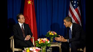 English: President Barack Obama meets with Chi...