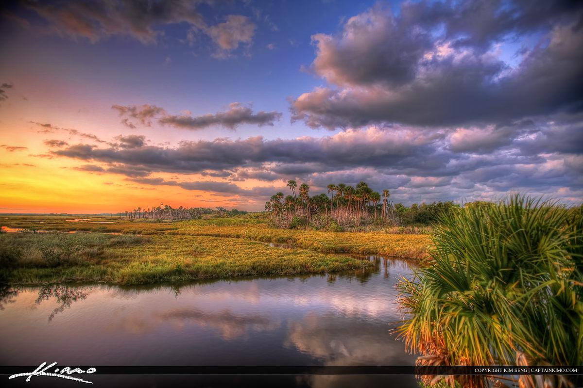 New Smyrna Beach Mosquito Lagoon Beautiful Sunset Colors