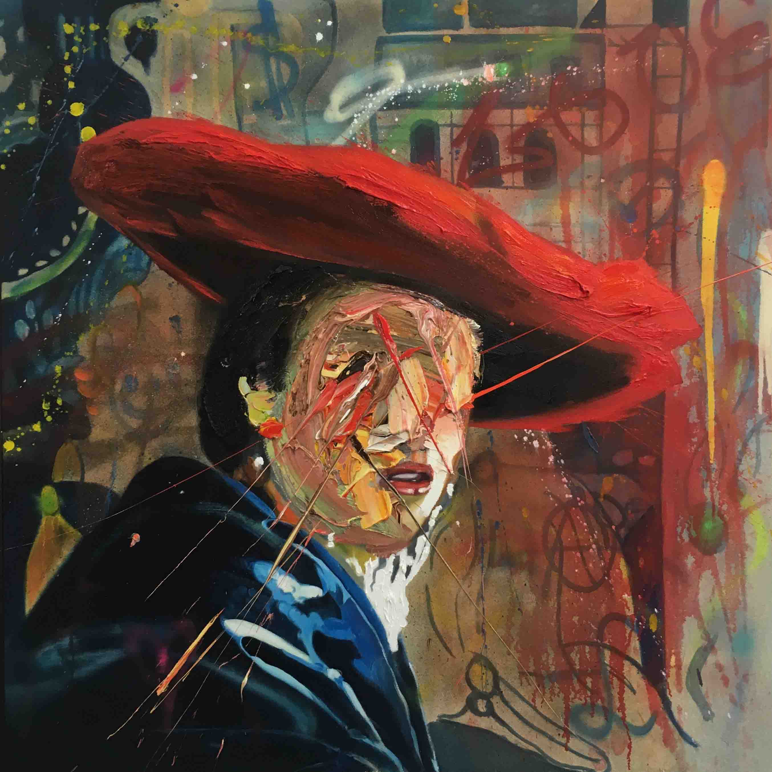 After Vermeer, Girl in a red hat, 120 cm x 120 cm