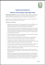 Policy for Juniors Playing in Open Age Cricket