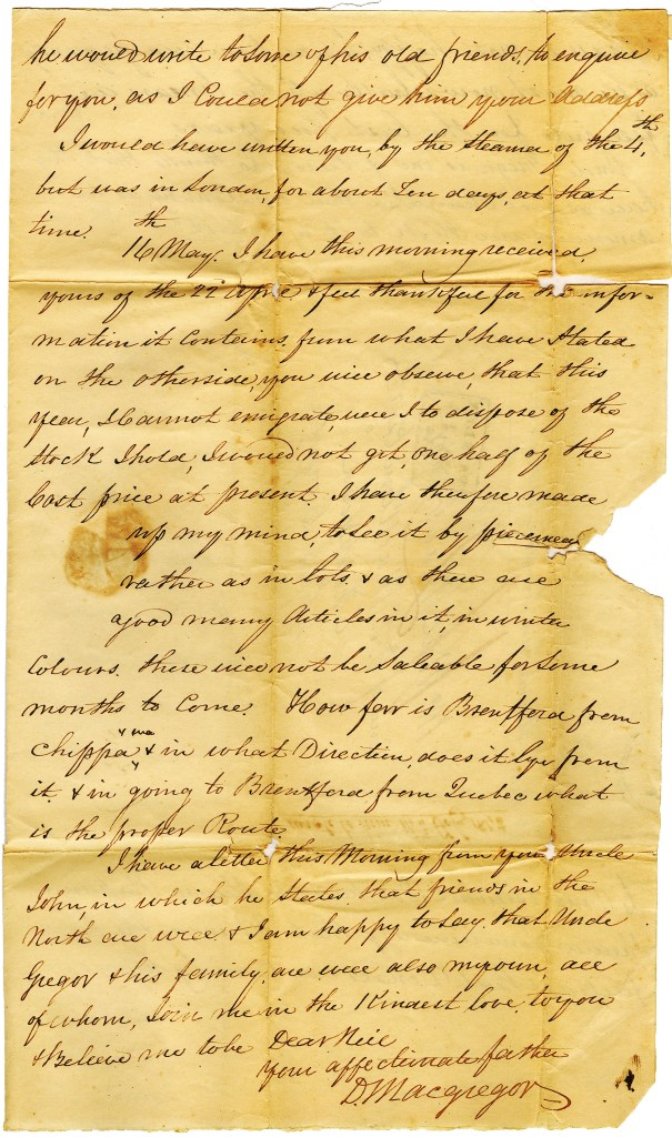 Letter from Duncan Macgregor to his son NeilMacGregor on 13 May 1842. 3/4