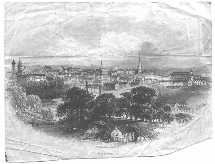 BRECHIN - An old etching from the Steven (Stevens) family souvenirs. c. 1855? Cathedral is on the far left. - Colin M. Stevens' family papers.