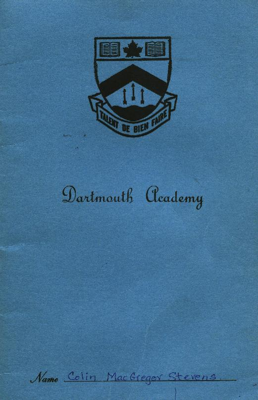 Dartmouth Academy Report Card - Cover- 1964