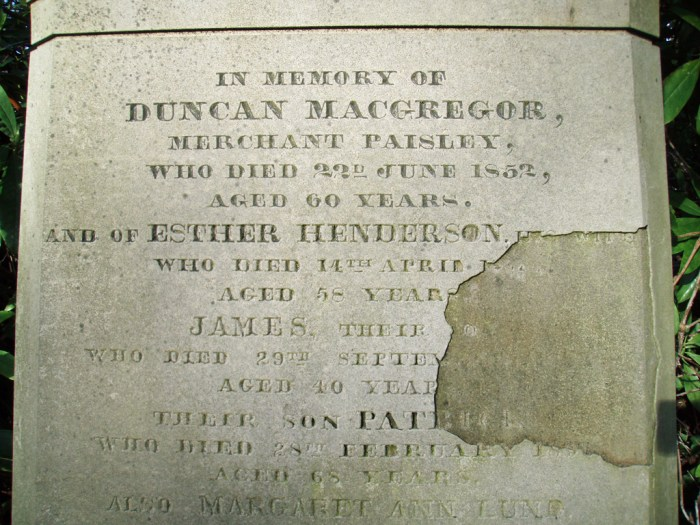 Grave Duncan MacGregor upper inscription