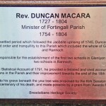 Sign for grave of Duncan Macara at Fortingall Church yard. Photo by CMS