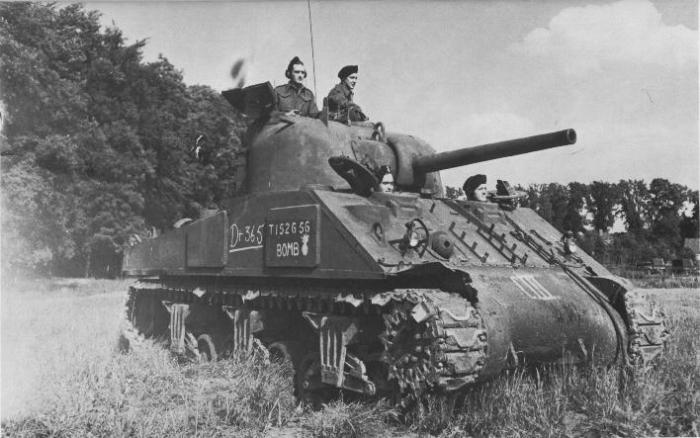 Canadian Sherman tank named BOMB. It survived from D-Day to the end of the war.