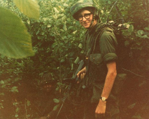 2/Lt C M Stevens, Seaforth at CFBGagetown 1972Aug. There is another soldier in the photo as well.