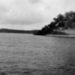 Smoke plume of burning sinking ship. Definitely tanker 24-3-42
