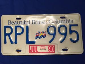 Civilian Licence plate, British Columbia for 1990.