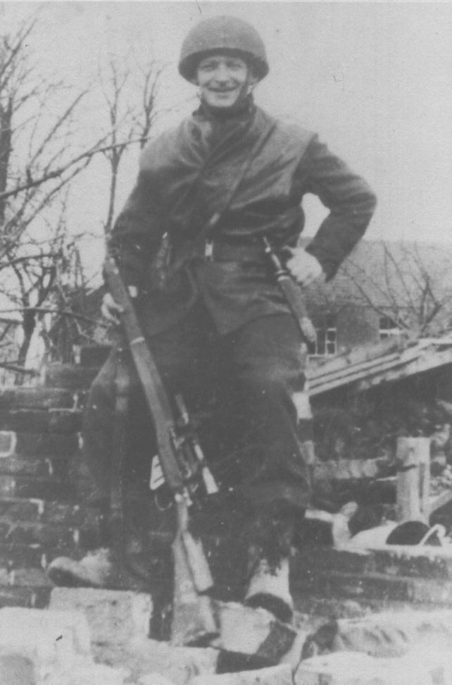 """1 Canadian Parachute Battalion sniper Pte. R. C. Rushton Roermond, Holland 1945. He has a """"Killing Knife"""" on his left hip. It is an all-black version of the USMC Stiletto. (Out of the Clouds)"""