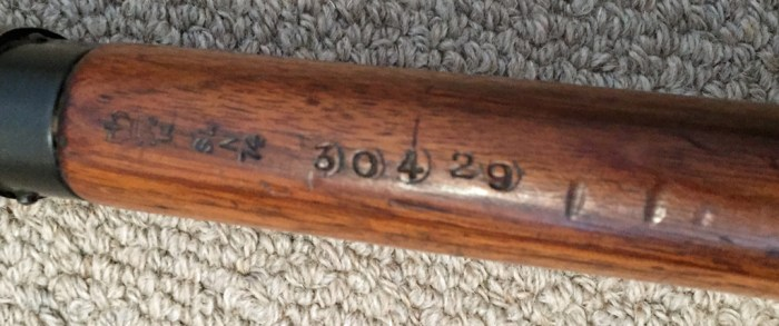 "1944 Lee-Enfield No4 MKI (T) BSA sniper rifle - underside of top wood showing serial number ""30429"" less the letter prefix on the underside of the forestock."