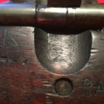"""M1903A4 Left side showing the notch with upside down """"K"""" for Keystone, the stock maker."""