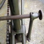 British Army BSA airborne bicycle, 2nd model, made circa 1943 serial number R37618 - Detail of left pedal in retracted position for transportation and storage.