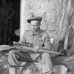 Sniper L Cpl A P Proctor, a sniper with 56 Div 24 Nov 1943 Italy Trials Highlander © IWM (NA 9026)