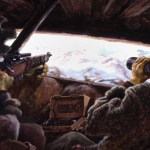 Sniper and obeserver in their hide, watching. Ted Zuber was a Canadian Army sniper during the Korean War. He worked up some paintings about the sniping later. In the 1991 Gulf War he was sent as an official Canadian War Artist.