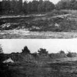Upper view is of the firing points and lower view is of the butts on a British range constructed on a German field firing range in the summer of 1945. The main object was to get away from normal firing point construction and practice, yet not entirely interfere with the natural topography. WWII British snipers WBSTTR - Shore 1948 fp 326