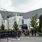 (40) The parade out in front of the Seaforth Armoury awaiting the raising of the Canada Flag.