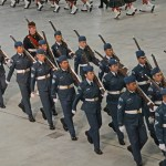(337) Air Cadets marching with Lee-Enfield No. 4 MK.I* rifles at the slope.