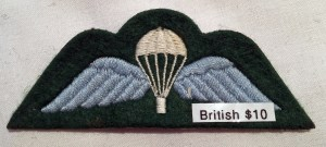 Parachute Badge (wings). Post-WWII variant with green background.