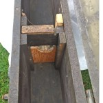 Chest C No7 22-IN MK. I - Interior right side. Notch for cleaning rod. Note replaced wood, likely done in service.
