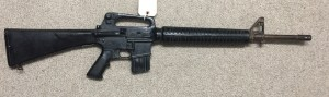 """U.S. military M16A2 training dummy rifle. Nicknamed """"Rubber Ducky"""" these were used for parachute training, obstacle courses etc. A real barrel and precisely moulded rubber remainder."""