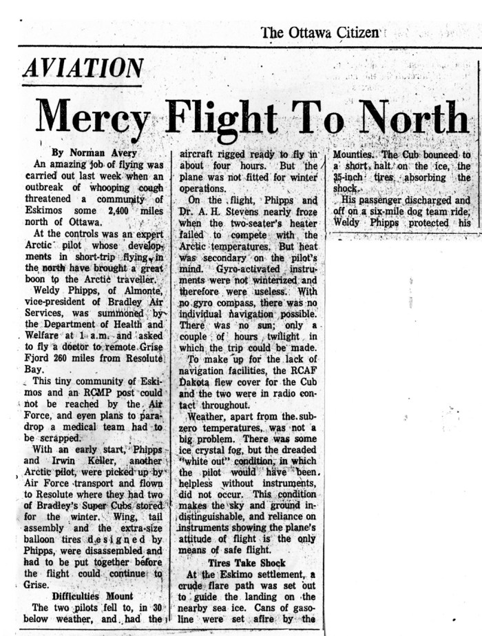"Newspaper article The Ottawa Citizen 1960-11-19 ""Mercy Flight to North"" Pilot Weldy Phipps and Dr. A. H. (""Pete"") STEVENS. Left half"