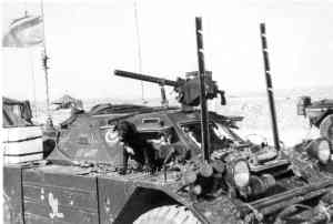 Ferret 54-82507 in Cyprus with UNFICYP. She has two wire-cutter bars fitted. Roadrunner cartoon symbol is unofficially for the Lord Strathcona's  Horse (Royal Canadians)