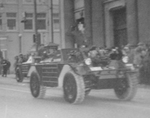 Ferret 54-82563. in Remembrance Day Parade 1956. Major General Chris Vokes is taking the salute. Marching troops are Royal Canadian Army Cadets or Milita, not Regular Force. Detail showing 54-82563. [LdSH(RC) Archives]