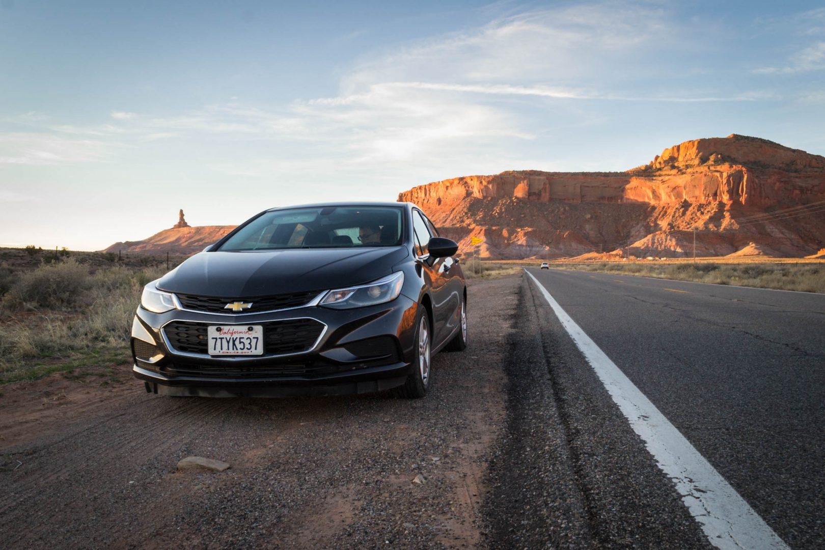 Notre belle Chevrolet Cruze sur les routes de Monument Valley