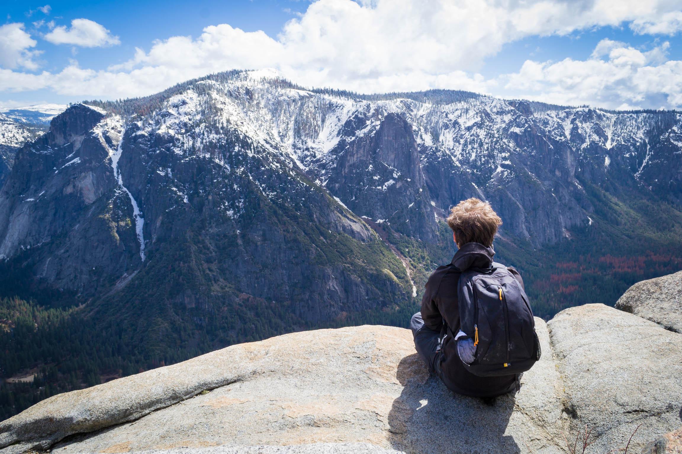 En haut de la Upper Fall du Yosemite