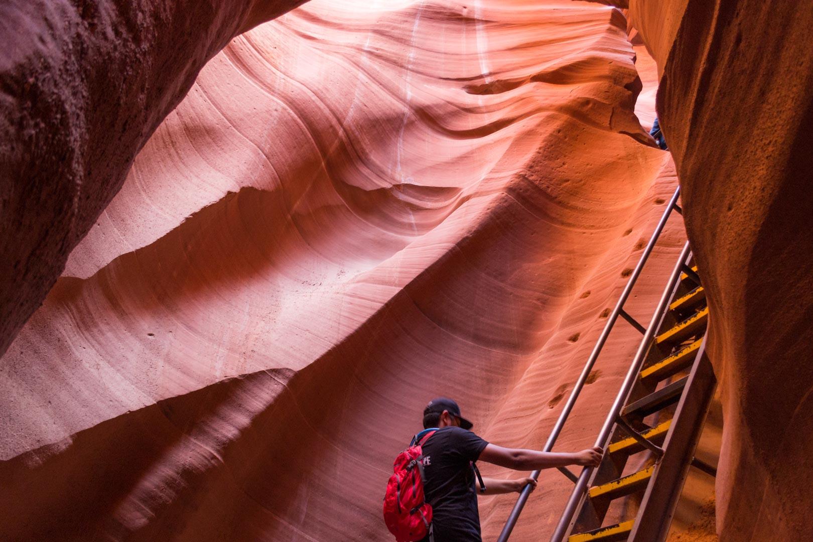 Des échelles pour descendre dans le canyon