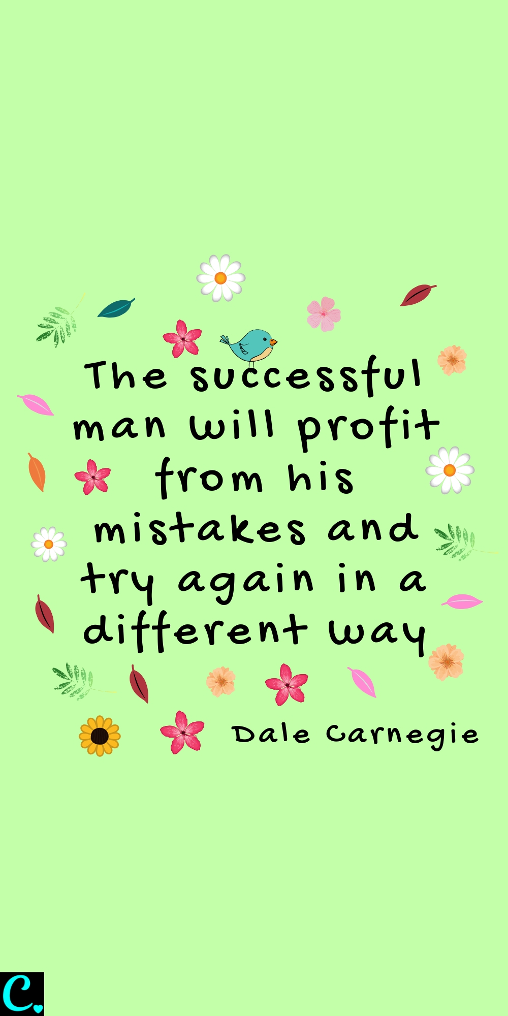 The successful man will profit from his mistakes and try again in a different way! Dale Carnegie quote about failure & success #successquote #failurequotes #failure #successquotes #successfulwomen