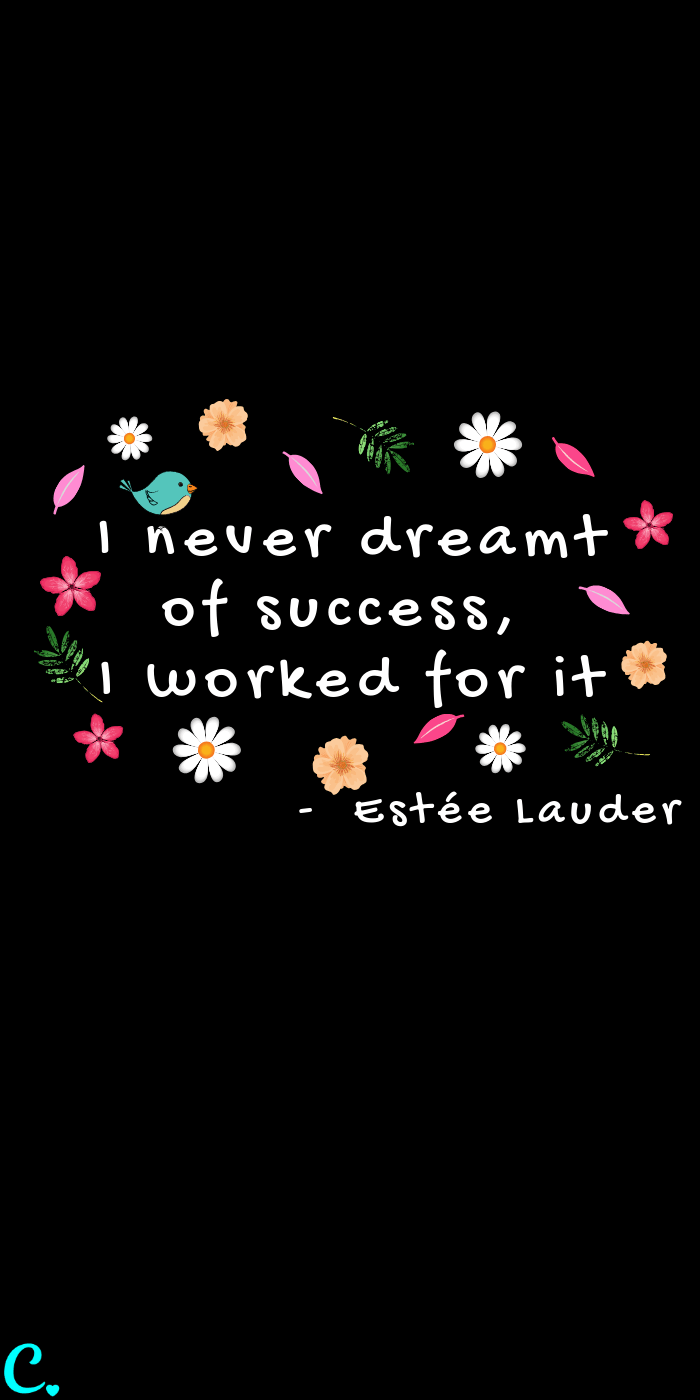 I never dreamt of success, I worked for it