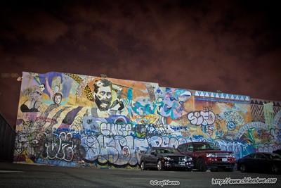 Mural with graffiti