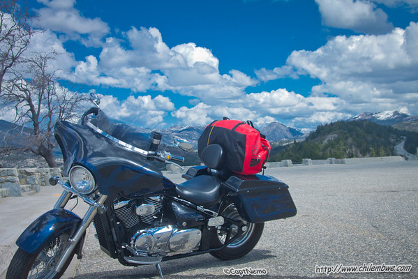 My motorcycle at a rest stop along the way.