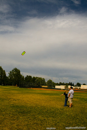 Nick and Aubrey flying the kite