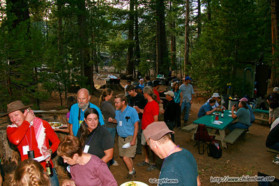 Hungry cavers line up for dinner