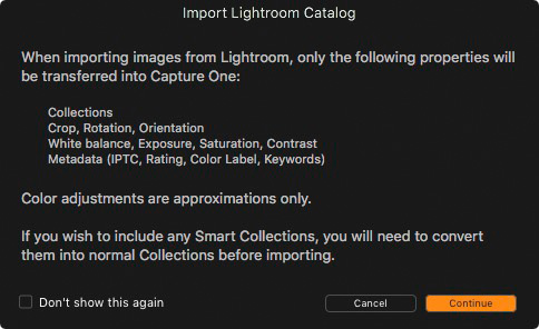 Import Lightroom Catalog in Capture One