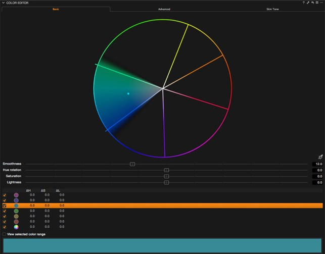 Basic Tab in the Color Editor