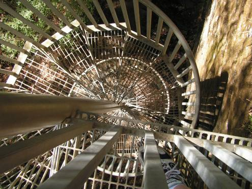 There was a spur trail leading to the bottom and top of Greeter Falls. The way down was straight over a cliff! So they kindy installed this really cool spiral staircase.